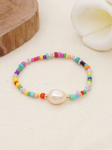 Stainless steel Freshwater Pearl Multi Color Geometric Bohemia Stretch Bracelet