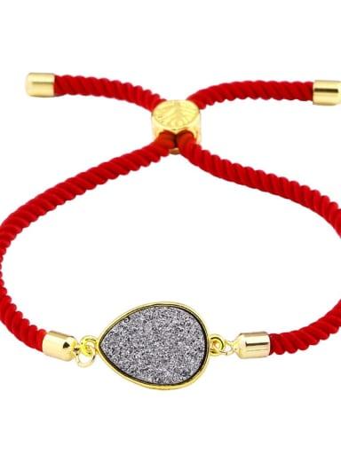 Red rope grey Leather Geometric Minimalist Adjustable Bracelet