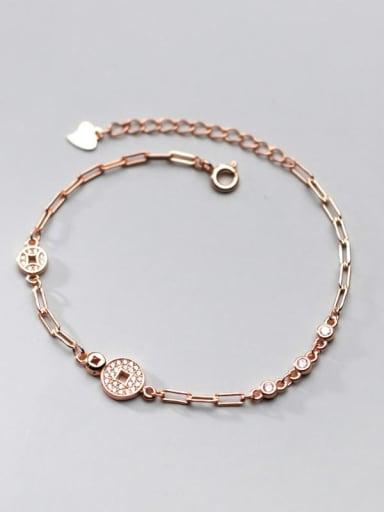 rose gold 925 Sterling Silver Cubic Zirconia Coin Vintage Link Bracelet