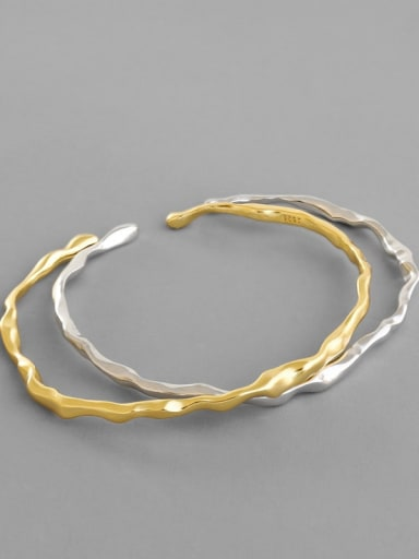 925 Sterling Silver Geometric Minimalist Cuff Bangle