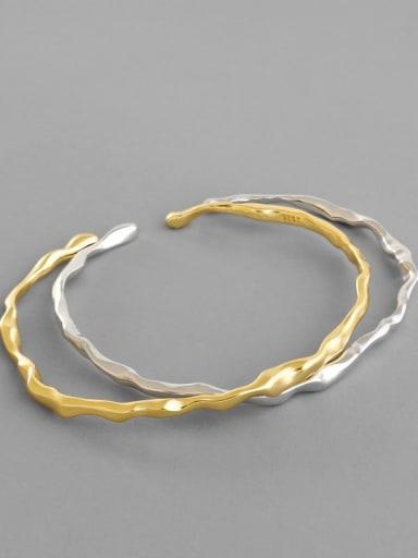 925 Sterling Silver Geometric Minimalist Cuff Bangle