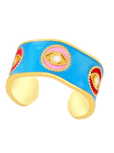 Sky blue Brass Enamel Hip Hop Band Ring