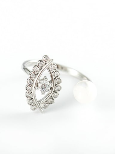 925 Sterling Silver Imitation Pearl Evil Eye Vintage Band Ring