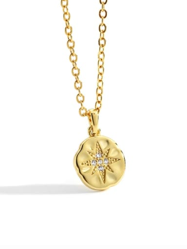 golden Brass Rhinestone Geometric Minimalist Pendant Necklace