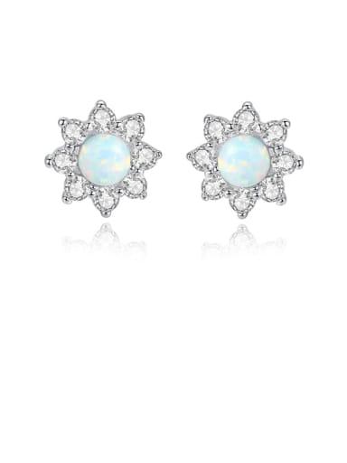 925 Sterling Silver Opal Flower Classic Stud Earring