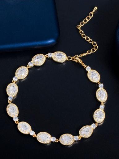 Gold Brass Cubic Zirconia Water Drop Luxury Bracelet
