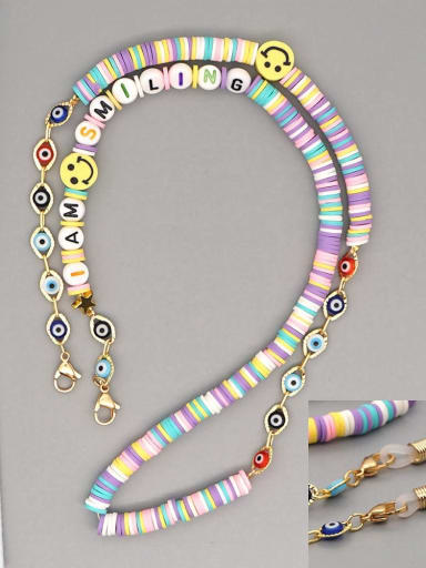 RT N200007B Stainless steel Multi Color Polymer Clay Smiley Bohemia Beaded  Hand-woven Necklace