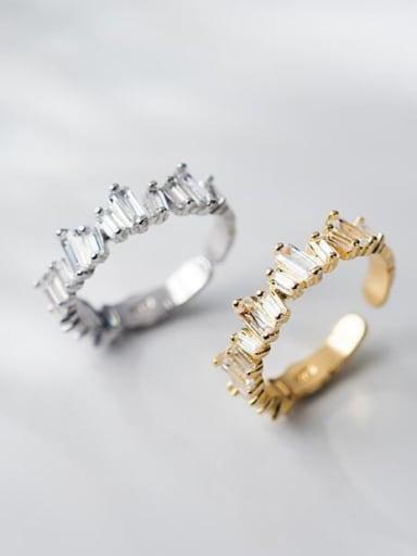 925 Sterling Silver Cubic Zirconia Irregular Minimalist Band Ring