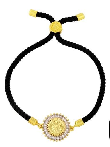 Black rope C Brass Cubic Zirconia Religious Vintage Woven Bracelet