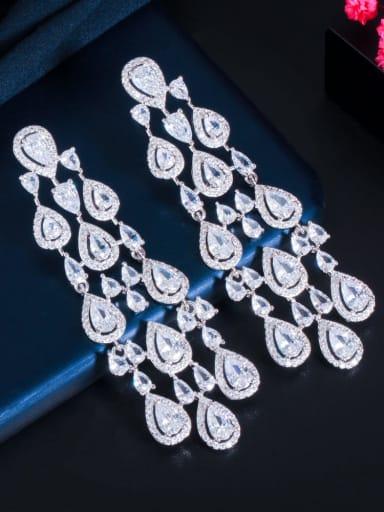 Platinum Brass Cubic Zirconia Tassel Statement Cluster Earring