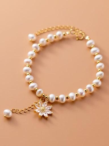 925 Sterling Silver Freshwater Pearl Flower Minimalist Beaded Bracelet