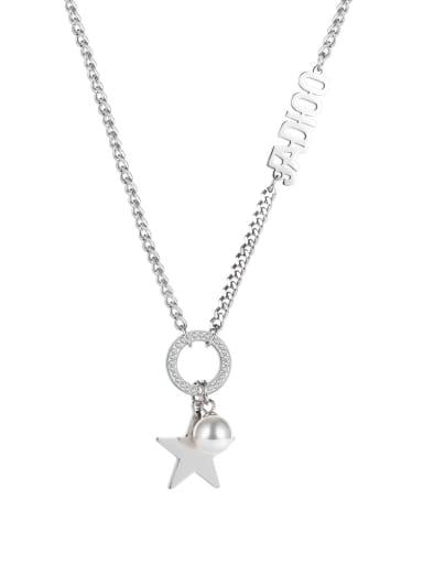 Titanium Steel Imitation Pearl Letter Hip Hop Necklace