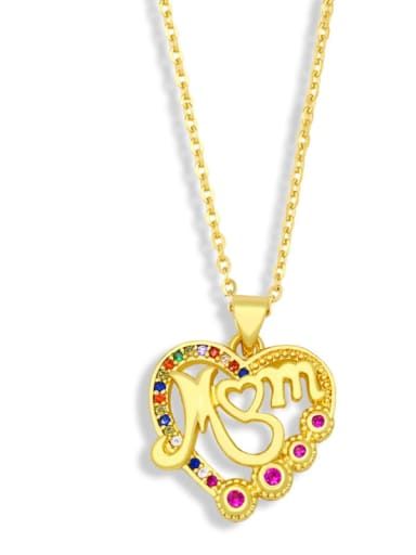 C Brass Cubic Zirconia  Minimalist Letter Heart Pendant  Necklace