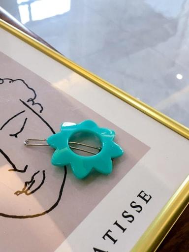 8 petals green Cellulose Acetate Minimalist Hollow Geometric Hair Pin