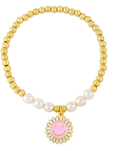 Pink Brass Imitation Pearl Enamel Smiley Trend Beaded Bracelet