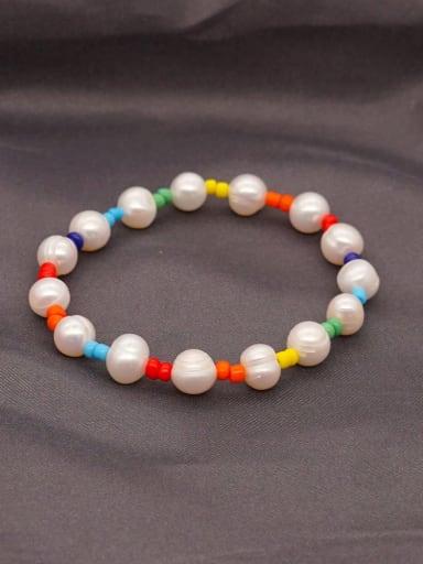 Stainless steel Freshwater Pearl Round Minimalist Stretch Bracelet