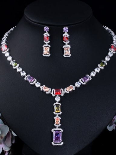 colour Brass Cubic Zirconia  Luxury Geometric Earring and Necklace Set