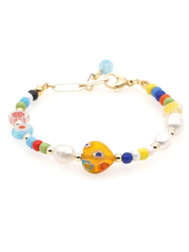 Tila Beads Freshwater Pearl Multi Color Round Minimalist Stretch Bracelet