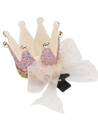 1 Pink crown white mesh bow hairpin Alloy  Leather Cute CrownMulti Color Hair Barrette