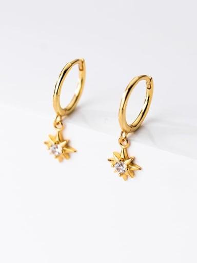 gold 925 Sterling Silver Rhinestone Star Minimalist Huggie Earring