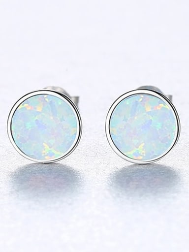 White 18H12 925 Sterling Silver Opal Multi Color Round Minimalist Stud Earring