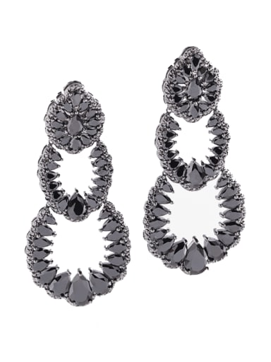 Black Brass Cubic Zirconia Geometric Vintage Cluster Earring