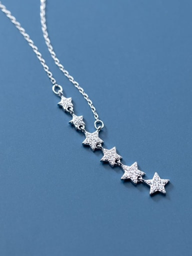 925 Sterling Silver Cubic Zirconia Star Minimalist Lariat Necklace
