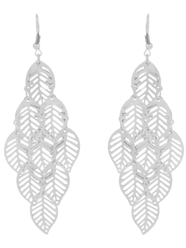 silvery Alloy Leaf Vintage Hook Earring