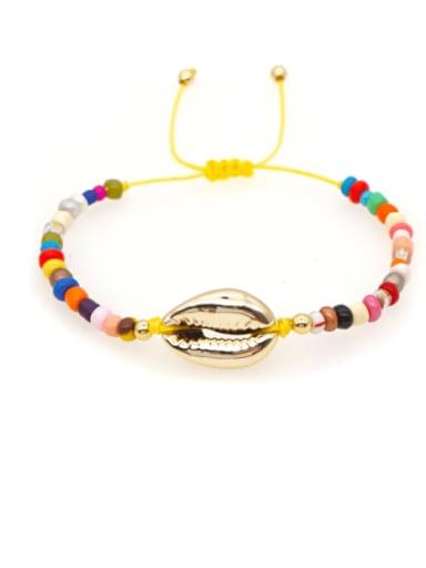 B B200011D Stainless steel Glass Bead Multi Color Geometric Bohemia Woven Bracelet