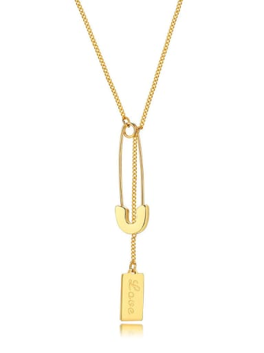 Stainless steel Geometric  Tassel Minimalist Lariat Necklace