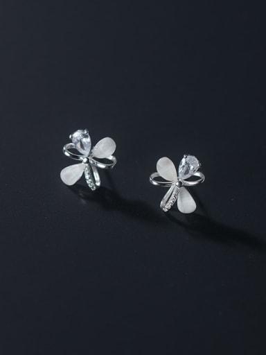 925 Sterling Silver Cats Eye Flower Minimalist Stud Earring