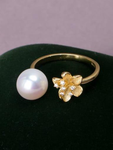 white Brass Freshwater Pearl Flower Vintage Band Ring