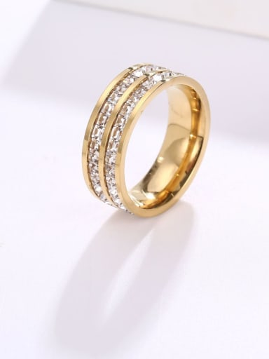 Gold (double row) Titanium Steel Rhinestone Round Minimalist Stackable Ring