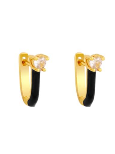 black Brass Multi Color Enamel Heart Vintage Huggie Earring