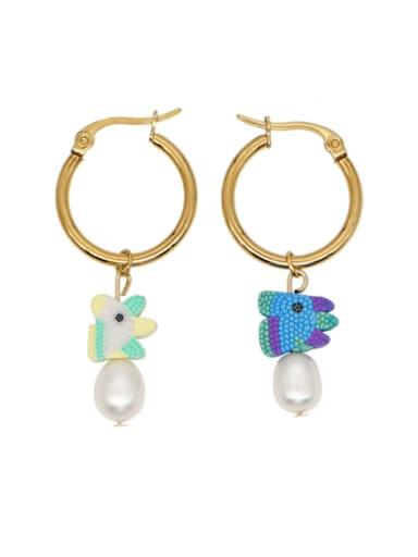 Stainless steel MGB Bead Multi Color Heart Bohemia Huggie Earring