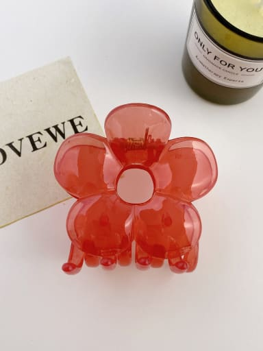 Jelly red 7cm Alloy Resin Trend Flower Jaw Hair Claw
