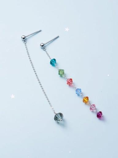 925 Sterling Silver Imitate Crystal Geometric Minimalist Threader Earring