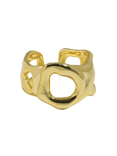 18K gold [No. 14 adjustable] 925 Sterling Silver Geometric Vintage Band Ring