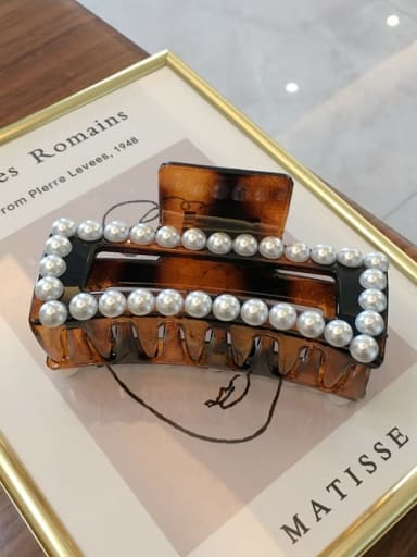 Amber 10.5cm Cellulose Acetate Trend Geometric Imitation Pearl Jaw Hair Claw