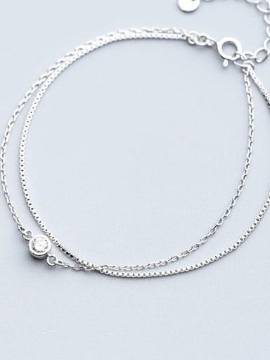 925 Sterling Silver Rhinestone Irregular Minimalist Strand Bracelet