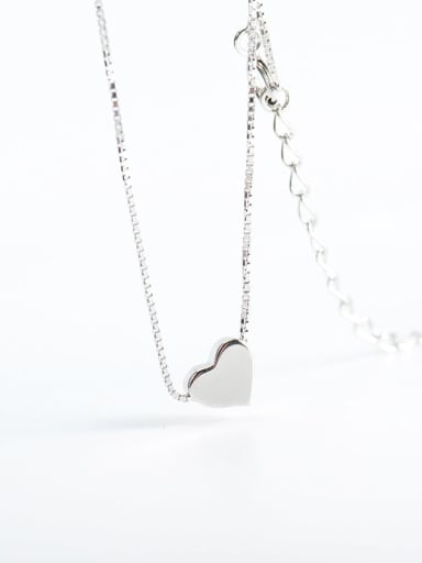925 Sterling Silver Smooth Heart Minimalist  Pendant Necklace