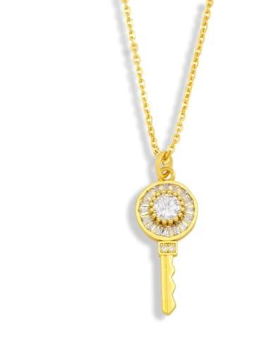 B Brass Cubic Zirconia Key Hip Hop Pendant Necklace