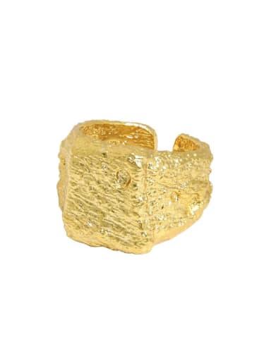 Gold [13 adjustable] 925 Sterling Silver Geometric Vintage Band Ring