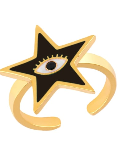 black Brass Enamel Star Minimalist Band Ring