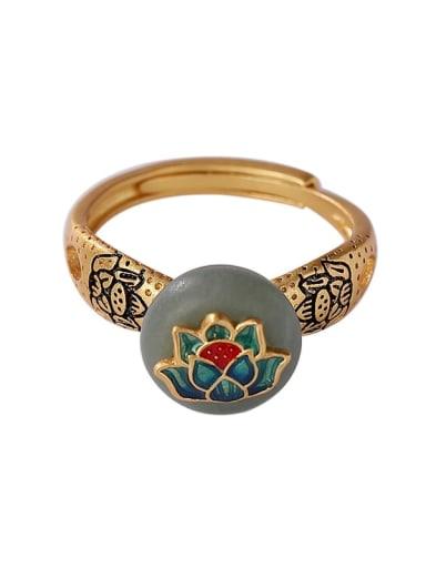 925 Sterling Silver Enamel Jade Flower Vintage Band Ring