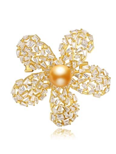 Brass Cubic Zirconia Flower Vintage Brooch