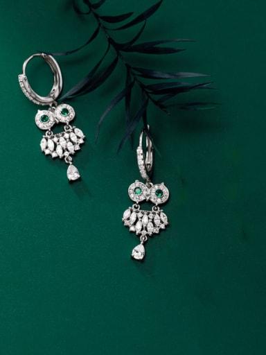 silver 925 Sterling Silver Cubic Zirconia Eagle Cute Huggie Earring