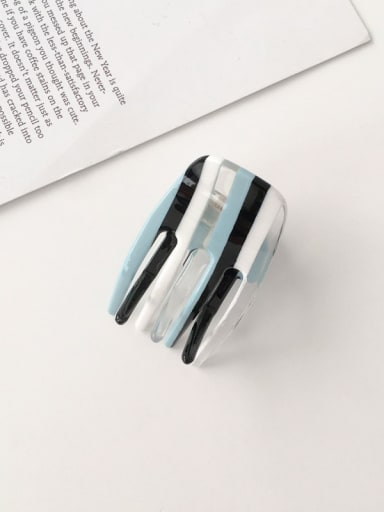 F175 Cellulose Acetate Minimalist Blue striped hollow Alloy Jaw Hair Claw