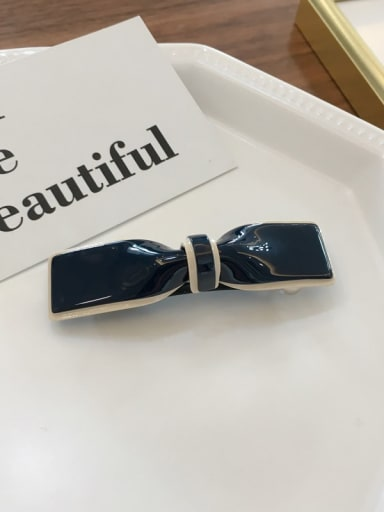 Small navy Cellulose Acetate Trend Bowknot Alloy Hair Barrette Spring clip