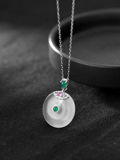 925 Sterling Silver Opal Geometric Minimalist Necklace